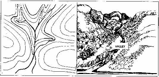 Cliff On A Topographic Map.How Terrain Features Are Depicted With Contour Lines